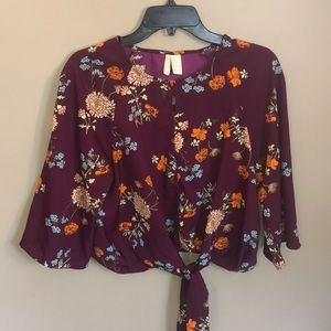 Floral Tie Front Cropped Blouse Top